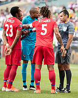 PHILADELPHIA, PA - JUNE 30: Roman Torres #5, Luis Mejia #1 and Michael Murillo #23 discuss a call with the referee during a game between Panama and Jamaica at Lincoln Financial FIeld on June 30, 2019 in Philadelphia, Pennsylvania.