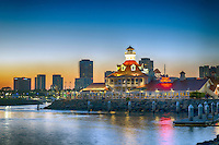 Long Beach; CA;  Skyline, Parkers' Lighthouse, Dusk, Night, Shoreline Marina; Rainbow Harbor;