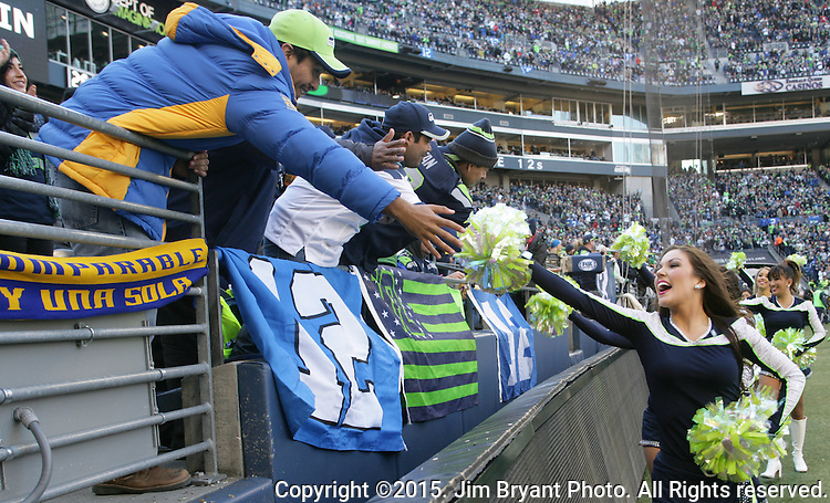 Seattle Seahawks Seagals greet fans before their game against the San Francisco 49ers at CenturyLink Field in Seattle, Washington on November 22, 2015.  The Seahawks beat the 49ers 29-13.   ©2015. Jim Bryant Photo. All RIghts Reserved.