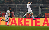 February 5th 2019, Dortmund, Germany, German DFB Cup round of 16, Borussia Dortmund versus SV Werder Bremen;  The goal celebration for 1-0 from Milot Rashica with Max Kruse