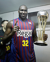 FC Barcelona Regal's Nathan Jawai celebrates the victory in the Spanish Basketball King's Cup Final match.February 07,2013. (ALTERPHOTOS/Acero)