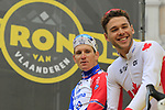 French National Champion Arnaud Demare (FRA) and Canadian National Champion Antoine Duchesne (CAN) Groupama-FDJ on stage at the team presentation in Antwerp before the start of the 2019 Ronde Van Vlaanderen 270km from Antwerp to Oudenaarde, Belgium. 7th April 2019.<br /> Picture: Eoin Clarke | Cyclefile<br /> <br /> All photos usage must carry mandatory copyright credit (&copy; Cyclefile | Eoin Clarke)