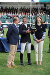 4th September 2016, Andrew Nicholson during the presentations by Jeremy Hicks, Managing Director of Land Rover UK and Miranda Rock, President of The Land Rover Burghley Horse Trials at the 2016 Land Rover Burghley Horse Trials, Stamford, United Kingdom. Jonathan Clarke