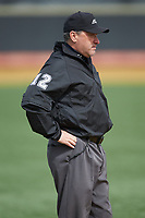 Third base umpire Barry Chambers during the ACC baseball game between the Notre Dame Fighting Irish and the Wake Forest Demon Deacons at David F. Couch Ballpark on March 10, 2019 in  Winston-Salem, North Carolina. The Demon Deacons defeated the Fighting Irish 7-4 in game one of a double-header.  (Brian Westerholt/Four Seam Images)