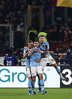 Football, Serie A: AS Roma - S.S. Lazio, Olympic stadium, Rome, January 26, 2020. <br /> Lazio's Francesco Acerbi (c) celebrates after scoring with his teammate Sergej Milincovic-Savic (l) and Ciro Immobile (r) during the Italian Serie A football match between Roma and Lazio at Olympic stadium in Rome, on January,  26, 2020. <br /> UPDATE IMAGES PRESS/Isabella Bonotto