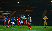 Rochdale players awaits a corner kick during the Sky Bet League 1 match between Rochdale and Walsall at Spotland Stadium, Rochdale, England on 23 December 2017. Photo by Juel Miah / PRiME Media Images.