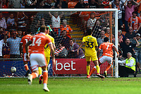 Blackpool's Nathan Delfouneso scores his side's second goal <br /> <br /> Photographer Richard Martin-Roberts/CameraSport<br /> <br /> The EFL Sky Bet League One - Blackpool v Fleetwood Town - Monday 22nd April 2019 - Bloomfield Road - Blackpool<br /> <br /> World Copyright © 2019 CameraSport. All rights reserved. 43 Linden Ave. Countesthorpe. Leicester. England. LE8 5PG - Tel: +44 (0) 116 277 4147 - admin@camerasport.com - www.camerasport.com