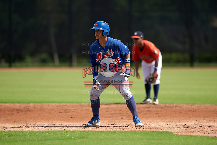 GCL Mets Kenedy Corona (22) leads off second base during a Gulf Coast League game against the GCL Astros on August 10, 2019 at FITTEAM Ballpark of the Palm Beaches Training Complex in Palm Beach, Florida.  GCL Astros defeated the GCL Mets 8-6.  (Mike Janes/Four Seam Images)