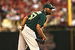 June 18, 2010       Oakland Athletics relief pitcher Cedrick Bowers (57) looks for a sign in the ninth inning.  The St. Louis Cardinals defeated the Oakland Athletics 6-4 in the first game of a three-game homestand at Busch Stadium in downtown St. Louis, MO on Friday June 18, 2010.