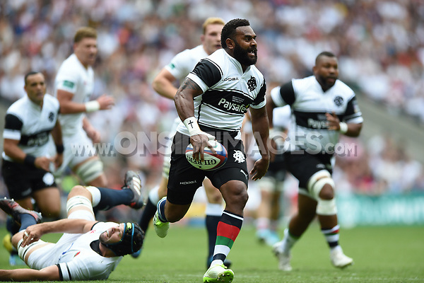 Timoci Nagusa of the Barbarians goes on the attack. Old Mutual Wealth Cup International match between England and the Barbarians on May 28, 2017 at Twickenham Stadium in London, England. Photo by: Patrick Khachfe / Onside Images