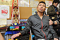 Takashi Uchiyama (JPN),..DECEMBER 31, 2011 - Boxing :..Takashi Uchiyama of Japan is interviewed by the press after the WBA super featherweight title bout at Yokohama Cultural Gymnasium in Kanagawa, Japan. (Photo by Hiroaki Yamaguchi/AFLO)