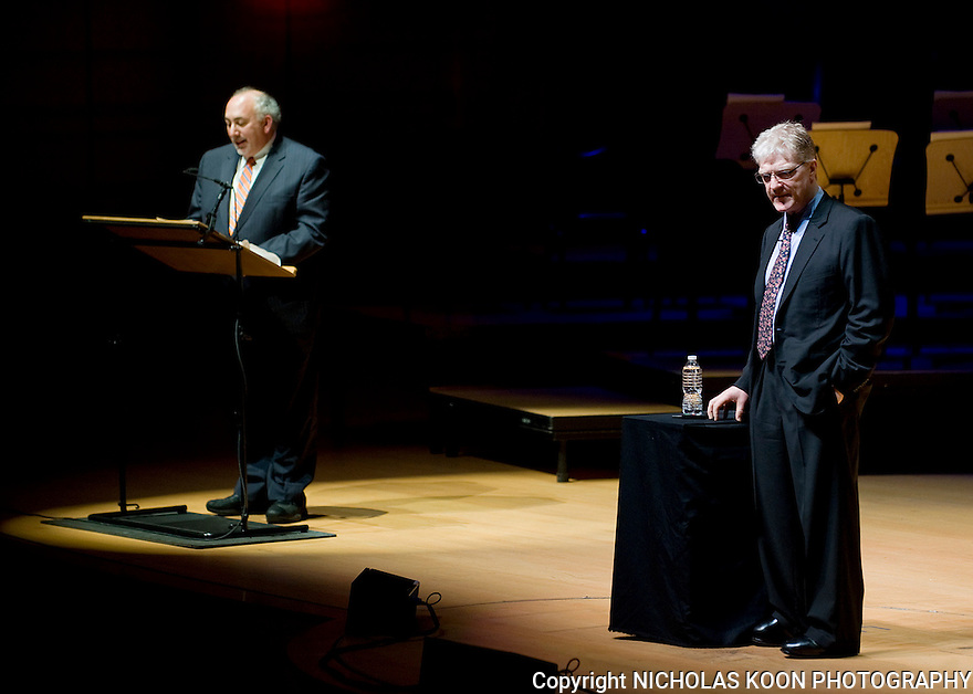 Executive director of Arts Orange County, Richard Stein (Left) conducts a Q and A with Sir Ken Robinson at the Rene and Henry Segerstrom Concert Hall in Costa Mesa. 2011