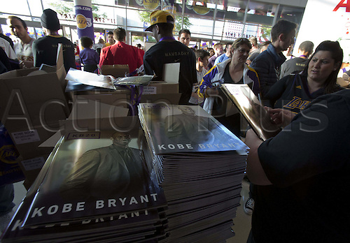 13.04.2016. Los Angeles, California, USA. Kobe Bryant program is given to fans attending the game between the Los Angeles Lakers and the Utah Jazz at Staples Center in Los Angeles, California on Wednesday April 13, 2016. Bryant's last game