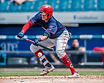 22 July 2018: Louisville Bats outfielder Mason Williams lays down a bunt in the 3rd inning against the Syracuse SkyChiefs at NBT Bank Stadium in Syracuse, NY. The Bats defeated the Chiefs 3-1 in AAA International League play. Mandatory Credit: Ed Wolfstein Photo *** RAW (NEF) Image File Available ***