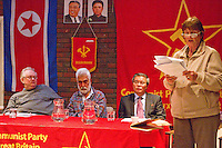 Ella Rule Vice Chairman CPGB-ML from the Platform speaking on Kim Il-sung's contribution to Marxism Leninism and part he played in the Korean liberation Others on the platform from left Keith Bennett CPGB-ML Harpal Brar Chairman CPGB-ML and Mr. Hyon Hak Bong Ambassador to UK of the DPR Korea Saklatvala Hall Southall 14th April 2013...