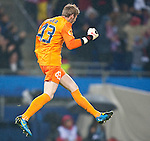 12.05.2010, Hamburg Arena, Hamburg, GER, UEFA Europa League Finale, Atletico Madrid vs Fulham FC im Bild Torjubel David de Gea, #43, Atletico Madrid, EXPA Pictures © 2010, PhotoCredit: EXPA/ J. Feichter