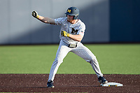 Michigan Wolverines outfielder Miles Lewis (3) celebrates after hitting a double during the NCAA baseball game against the Eastern Michigan Eagles on May 8, 2019 at Ray Fisher Stadium in Ann Arbor, Michigan. Michigan defeated Eastern Michigan 10-1. (Andrew Woolley/Four Seam Images)