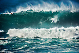 USA, Hawaii, Oahu, the North Shore, Kelly Slater wipeout on a huge wave at Waimea bay
