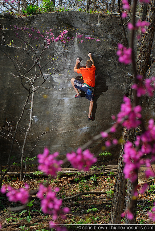 Christian Tartaglia on a V3 at Rumbling Bald, NC.