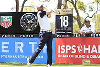 Michael Long (NZL) on the 18th tee during Round 1 of the ISPS HANDA Perth International at the Lake Karrinyup Country Club on Thursday 23rd October 2014.<br /> Picture:  Thos Caffrey / www.golffile.ie