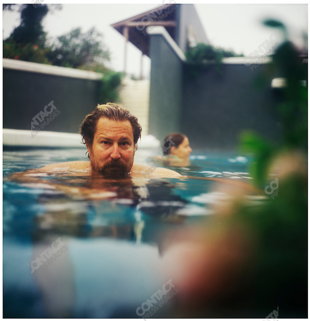 Julian Schnabel, Academy Award nominated and Golden Globe winning American artist and filmmaker, at his studio. Montauk, Long Island, New York, August 31, 2001.