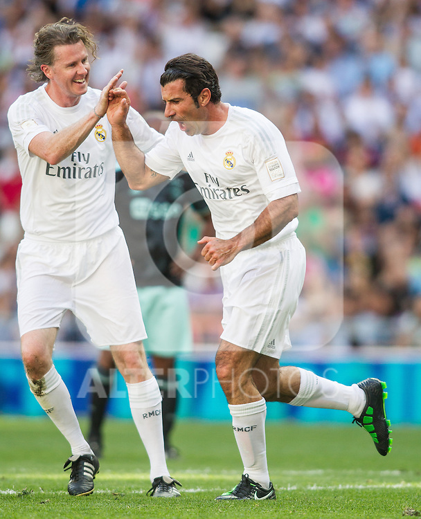 Luis Figo and Esteve Mcmanaman during the Corazon Classic Match 2016 at Estadio Santiago Bernabeu between Real Madrid Legends and Ajax Legends. Jun 5,2016. (ALTERPHOTOS/Rodrigo Jimenez)