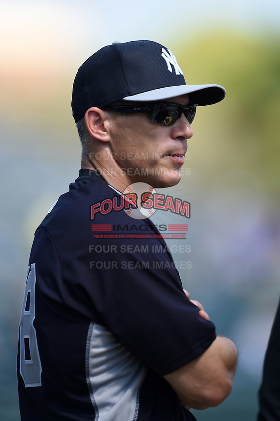 New York Yankees manager Joe Girardi (28) before a Spring Training game against the Pittsburgh Pirates on March 5, 2015 at McKechnie Field in Bradenton, Florida.  New York defeated Pittsburgh 2-1.  (Mike Janes/Four Seam Images)