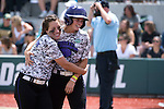 21 MAY 2016:  Danielle Cruickshank (3) of Humboldt State University congratulates Courtney Shields (7) on her home run against the University of North Alabama during the Division II Women's Softball Championship held at the Regency Athletic Complex on the Metro State University campus in Denver, CO.  North Alabama defeated Humboldt State 10-1 to force a game three.  Jamie Schwaberow/NCAA Photos