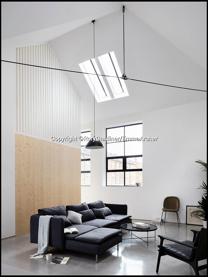 BNPS.co.uk (01202 558833)Pic: RoryGardiner/EmmaArcher/BNPS<br /> <br /> Stripped back interior..<br /> <br /> Council Depot transformed into a million pound minimalist masterpiece.<br /> <br /> An architect has transformed a former council depot in Hackney into a stunning £1.35million property.<br /> <br /> James Davies, 34, has spent two years transforming the historic, dilapidated former school building in Stoke Newington, north east London, into a modern, stylish two-storey, two-bedroom house, living on site during the conversion. <br /> <br /> The renovation of the site at Defoe Road, which is yards from the high street, cost a hefty £350,000.<br /> <br /> But the investment has paid off handsomely as the property, which has its own inner courtyard, has already been snapped up for £1.35m.