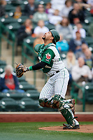 Fort Wayne TinCaps catcher Webster Rivas (8) tracks a pop up during a game against the Wisconsin Timber Rattlers on May 10, 2017 at Parkview Field in Fort Wayne, Indiana.  Fort Wayne defeated Wisconsin 3-2.  (Mike Janes/Four Seam Images)