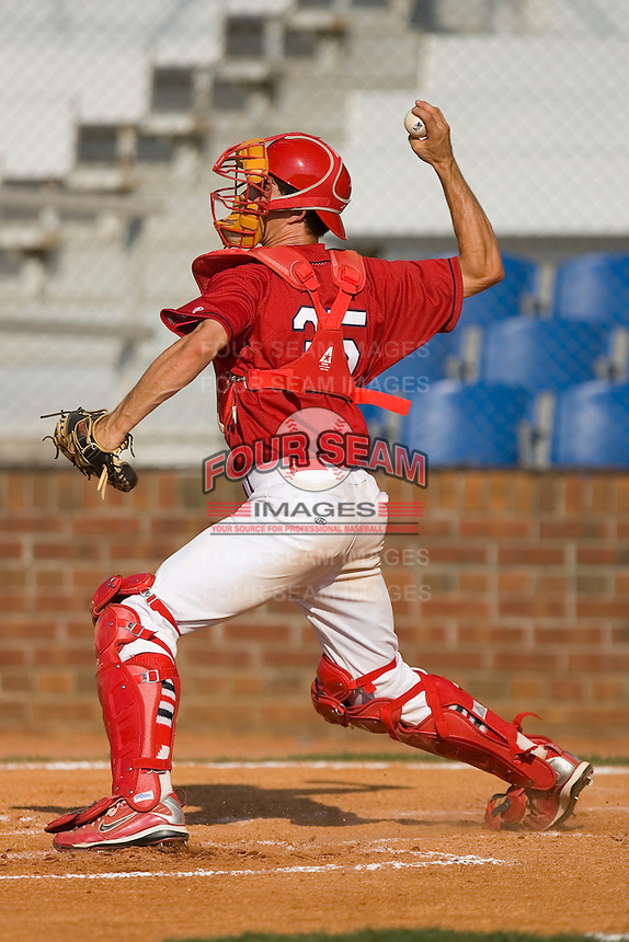 Robert Stock #35 of the Johnson City Cardinals makes a throw to second base at Howard Johnson Stadium June 27, 2009 in Johnson City, Tennessee. (Photo by Brian Westerholt / Four Seam Images)