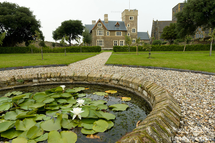 The historical building Grange and its' garden in Ramsgate, United Kingdom. The Grange is a building belonging to the Landmark Trust, a United Kingdom building preservation charity that rescues historic buildings at risk and gives them a new life as places to stay in and experience.