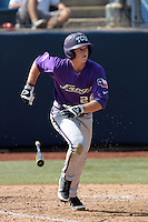 Keaton Jones #26 of the TCU Horned Frogs bats against the Cal State Fullerton Titans at Goodwin Field on February 26, 2012 in Fullerton,California. Fullerton defeated TCU 11-10.(Larry Goren/Four Seam Images)