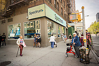 A Spectrum retail store rebranded as Spectrum in the Upper West Side neighborhood of New York  on Saturday, April 29, 2017. Following the acquisition of Time Warner Cable by Charter Communications the Time Warner Cable brand is being rebranded as Spectrum. (© Richard B. Levine)