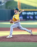 Nathan Patterson pitched one inning in his first professional game for the AZL Athletics Gold team, striking out all three batters he faced in the first inning of an Arizona League game against the AZL Cubs 2 team at Sloan Park on August 15, 2019 in Mesa, Arizona (Bill Mitchell)