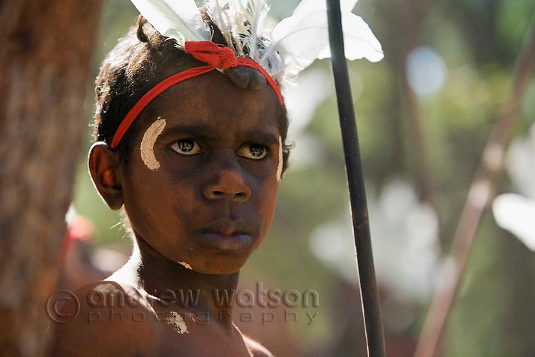 Dancer from the Aurukun community at the Laura Aboriginal Dance Festival.  Laura, Queensland, Australia