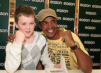 NO FEE PICTURES.16/3/12 Ian Fox, age 11, Trim pictured today is Sugar Ray Leonard, one of the greatest fighters of the last fifty years will be in Eason, O.Connell Street signing copies of his new autobiography , .The Big Fight..  Leonard.s book is unflinchingly honest which reveals the true story of an Olympic hero and world champion.  He tells of the gruelling workouts, the fierce competition, and the notorious corruption he encountered within the sport as he battled to become a champion.  Picture:Arthur Carron/Collins