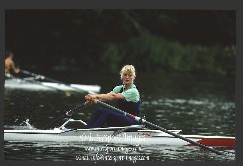 Henley, England,  GBR W1X,  Ali GILL 1990 Women's Henley Regatta, Henley Reach, River Thames Oxfordshire <br /> <br /> <br /> [Mandatory Credit; Peter Spurrier/Intersport-images] 1990 Henley Women's Regatta, Henley,