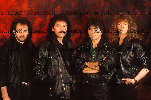 BLACK SABBATH - L-R: Tony Martin, Tony Iommi, Cozy Powell, Neil Murray - photosession - Sep 1989. Photo credit: Pete Cronin/IconicPix