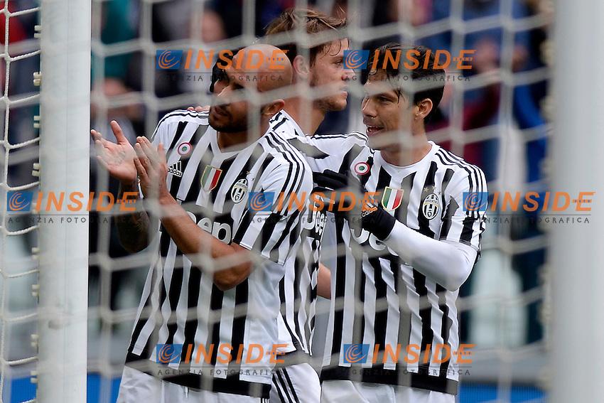 Esultanza gol Simone Zaza Juventus 2-0 con Anderson Hernanes Goal celebration <br /> Torino 01-05-2016 Juventus Stadium Football Calcio Serie A 2015/2016 Juventus - Carpi. Foto Filippo Alfero / Insidefoto