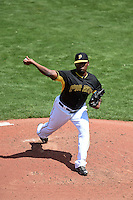 Pittsburgh Pirates pitcher Arquimedes Caminero (37) during a Spring Training game against the Boston Red Sox on March 12, 2015 at McKechnie Field in Bradenton, Florida.  Boston defeated Pittsburgh 5-1.  (Mike Janes/Four Seam Images)
