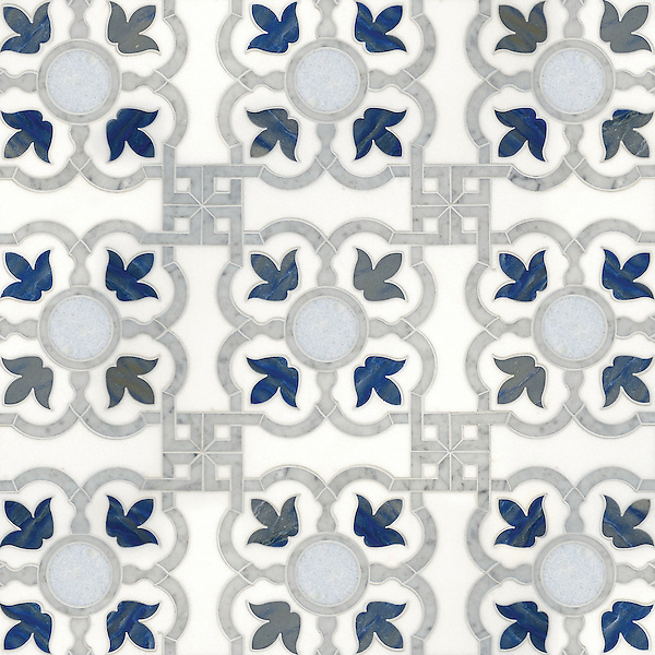 Jaen, a waterjet stone mosaic, shown in honed Thassos, polished Celeste, polished Carrara, and polished Collection by Paul Schatz for New Ravenna. <br />