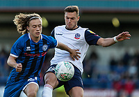 Bolton Wanderers' Dennis Politic (right) competing with Rochdale's Luke Matheson <br /> <br /> Photographer Andrew Kearns/CameraSport<br /> <br /> The Carabao Cup First Round - Rochdale v Bolton Wanderers - Tuesday 13th August 2019 - Spotland Stadium - Rochdale<br />  <br /> World Copyright © 2019 CameraSport. All rights reserved. 43 Linden Ave. Countesthorpe. Leicester. England. LE8 5PG - Tel: +44 (0) 116 277 4147 - admin@camerasport.com - www.camerasport.com