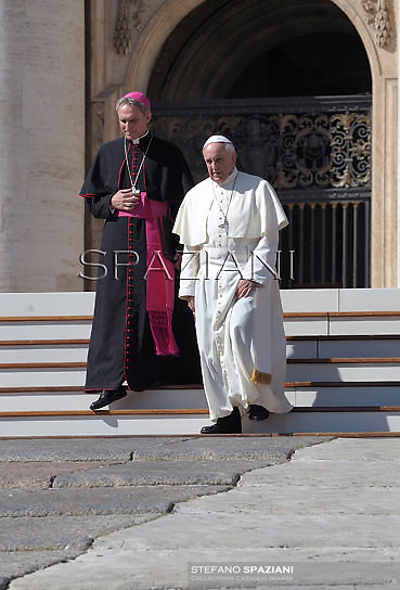 Monsignor Georg Gaenswein.Pope Francis during his weekly general audience in St. Peter square at the Vatican, Wednesday. 12 octomber  2013