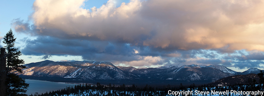 """""""Heavenly Valley""""  panoramic of Heavenly Ski Resort. I captured this image during the month of January 2013.  The clouds were enormous and kept changing every 10 minutes.  This panoramic has Heavenly and Freel Peak with Lake Tahoe."""