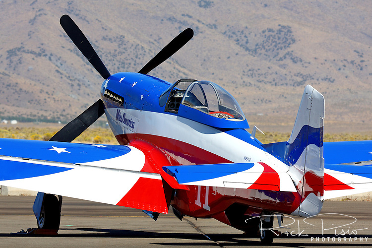 "Brent Hisey's P-51D Mustang ""Miss America"" sits on the tarmac during the 2008 Reno National championship Air Races at Stead Field in Nevada. The Rolls Royce Merlin powered Miss America finished 2nd in the Silver Class with a speed of 406.768 mph over the 58.5579 mile course."