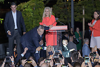 Hungarian Prime Minister Viktor Orban (3rd L) and fans of his government party Fidesz celebrates their victory during the European Parliamentary election in Budapest, Hungary on May 26, 2019. ATTILA VOLGYI