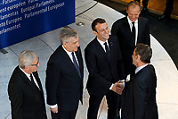 Emmanuel Macron, Antonio Tajani Jean-Claude Juncker, Nicolas Sarkozy <br /> <br /> STRASBOURG, FRANCE - JULY 01: The coffin holding the remains of former German Chancellor Helmut Kohl draped by the European flag is carried to the memorial ceremony at the European Parliament on July 1, 2017 in Strasbourg, France. Kohl was chancellor of Germany for 16 years and led the country from the Cold War through to reunification. He died on June 16 at the age of 87<br /> Foto Elyxandro Cegarra / Panoramic / Insidefoto <br /> ITALY ONLY