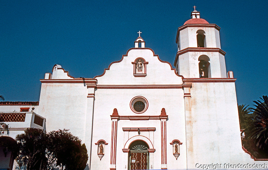 Oceanside: Mission San Luis Rey. Built 1811. Facade. NRHP 1970. Spanish style. Photo '80.