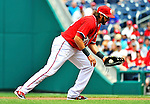 10 July 2011: Washington Nationals first baseman Michael Morse in action against the Colorado Rockies at Nationals Park in Washington, District of Columbia. The Nationals shut out the visiting Rockies 2-0 salvaging the last game their 3-game series at home prior to the All-Star break. Mandatory Credit: Ed Wolfstein Photo